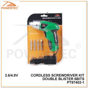 Powertec 3.6/4.8V Double Blister 6 Bits Cordless Screwdriver (PT87402) pictures & photos
