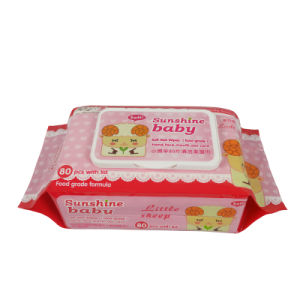 80PCS Chemical Free Baby Wet Wipes with Plastic Lid pictures & photos