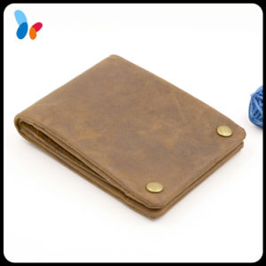Leather Safe Wallet Brown Smart Wallet with Snap Button pictures & photos