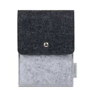 Black&Gray Felt iPhone Pouch with Buckle