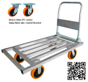 700kg Square Steel Tube Pushcart with PU Caster pictures & photos
