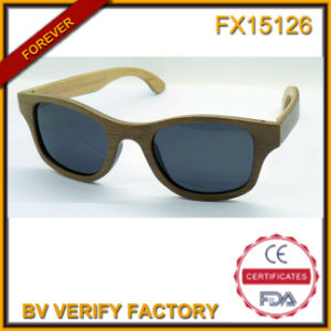Fx15126 Fashion Round Frame Handmade Wooden Sunglasses with Polarized Lens pictures & photos