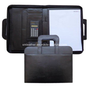 Handle Business Black Leather Briefcase Folio with Multi Pocketsn pictures & photos