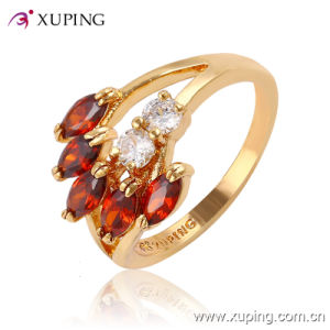 Fashion Elegant Leaf-Shaped CZ Crysral 18k Gold-Plated Jewelry Ring -11410 pictures & photos