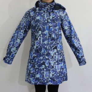 Blue Flower Hooded Waterproof PU Raincoat pictures & photos