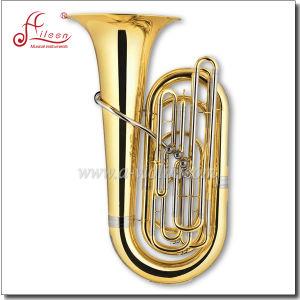 Bb Key Gold Lacquer 4 Valves Piston Tuba pictures & photos