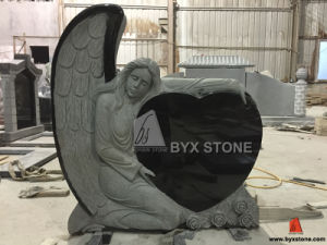 Absolute Black Granite Single Angel Carved Monument / Headstone with Heart pictures & photos