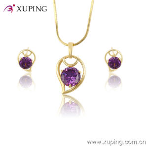 Xuping Wholesale Women Fashionable Gold- Plated Crystal Jewelry Set -61329 pictures & photos