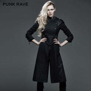 Killer Studded Leather Punk Coat Jacket with Hood and Bullet (Y-582) pictures & photos