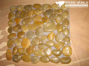 Natural Yellow Pebble Stone on Mesh for Wall & Swimming Pool pictures & photos