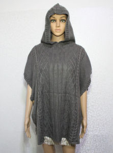 Lady Fashion Acrylic Knitted Hooded Winter Shawl Poncho (YKY4491) pictures & photos