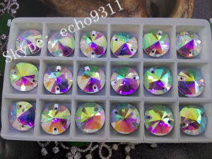 Ab Rivoli Sew on Round Crystal Stones for Garment Decoration (DZ-1041) pictures & photos