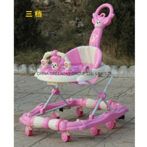 2016 Factory Supply Baby Walker with Push Bar Pink, Blue, Light Blue pictures & photos