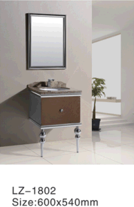 Stainless Steel Fake Drawer Single Sink Bathroom Cabinet (LZ-1892) pictures & photos