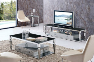 Modern Living Room Rectangle Glass Stainless Steel Coffee Cocktail Table pictures & photos