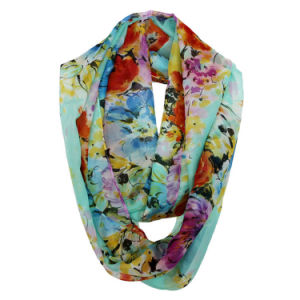 Woman Fashion Flower Printed Polyester Chiffon Spring Infinity Scarf (YKY1104) pictures & photos