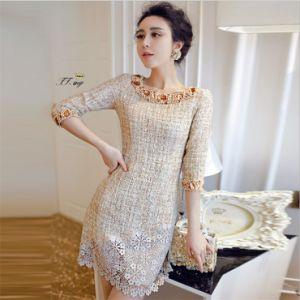 D1191 Hot Sale O-Neck Beaded 1/2 Sleeve Lace Evening Dress Gowns pictures & photos