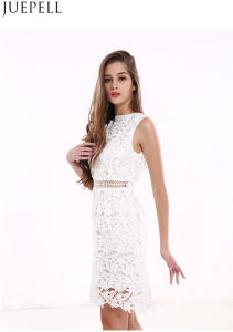 Middle Long Sections Slim Women Lace Dress Stitching Hollow Women Dress Factory in Guangzhou China pictures & photos
