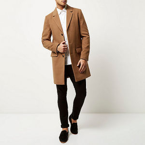 China 2016 Modern Style Men Brown Wool Overcoat - China Coats