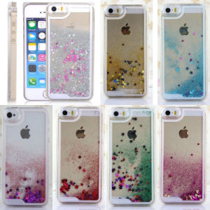 Pop Glitter Bling Stars Liquid Novelty Mobile Cell Phone Cover for iPhone 4 4s 5 5s 5c 6 6 Plus Case Cover