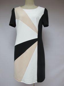 Three-Colour Round Collar Elastic Rear-Zipper Slim Ladies Office Dress pictures & photos