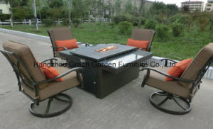 Garden Sofa Set Rattan Fire Pit Table with Swivel Sofa pictures & photos