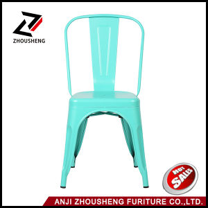 Good Quality Solid Metal Dining Chairs Steel Back Chairs Antique Blue pictures & photos