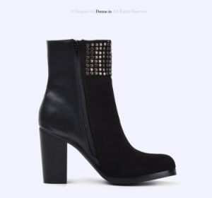 2017 Lady Casual Studs Shoes Patchwork High Heels Women Boots pictures & photos