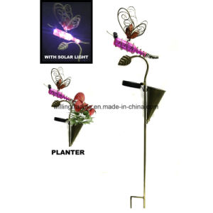 New Solar Power Metal Butterfly Stake and Planter Garden Decoration