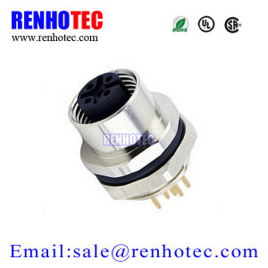 Circular Aviation Connector M12 4pin Female Front Mount Socket with DIP Contacts pictures & photos
