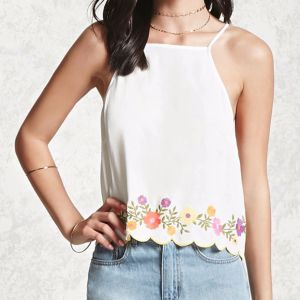 Ladies Fashion Embroidered Flowers Backless Camisole Blouse pictures & photos