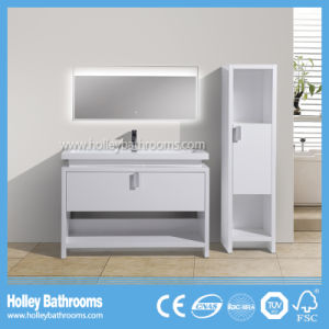 MDF Floor Mounted Bathroom Cabinet with LED Lamp and Side Cabinet (BF386D)
