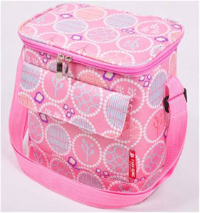 Portable Pink Insulated Ice Cooler Shoulder Bag with Side Pocket pictures & photos
