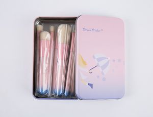 7PCS Pink Cosmetic Makeup Brush Set with Iron Case pictures & photos