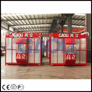 Sc100/100 Double Cages Construction Site Lift/Material Lifter pictures & photos