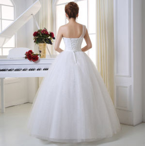 2017 Fashion Single Strap Glitter Sequins Ball Gown Wedding Dress pictures & photos