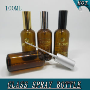 100ml Cylindrical Cosmetic Amber Glass Perfume Spray Bottle pictures & photos