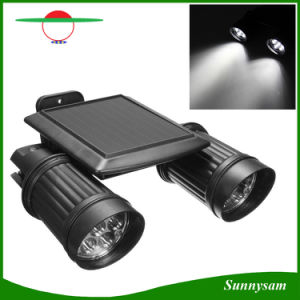 Solar PIR Motion Sensor Spotlight, 14 LEDs Dual Head Adjustable Waterproof Wall Light for Porch Patio Garden pictures & photos