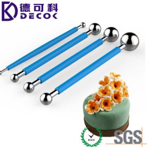 Blue Stainless Steel & Rubber Handle Metal Ball Flower Modeling Sugarcraft Metal Ball Fondant Tool pictures & photos