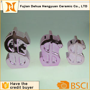 Four Color Ceramic Us Dollar Sign Coin Bank for Desktop Gift pictures & photos