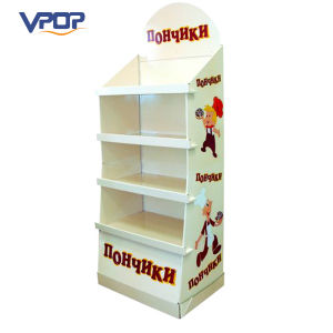Glossy Lamination Corrugated Shelf Standing for Food Display