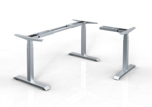 White Customized Metal Steel Electric Height Adjustable Office Lift Table Frame with Hts03-2 pictures & photos