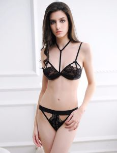 Super New Arrivals Super High Quality Customised OEM Services Services Black Brand Bra Set pictures & photos