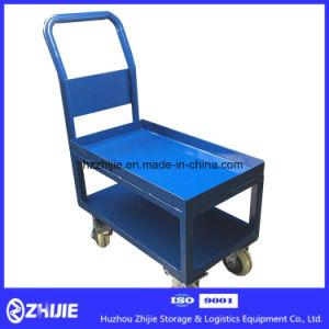 Blue Double Layer Steel Platform Trolley