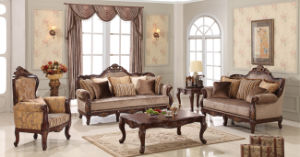 Classical Wooden Fabric Sofa with Antique Table for Living Room pictures & photos