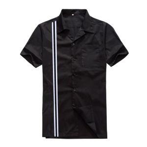 Latest Black Striped Wholesale Polo Men Shirt Cotton Button Down pictures & photos