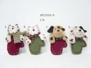 "5""H Holiday Fleece Cat and Dog Mitten, 2 Asst-Christmas Ornaments pictures & photos"