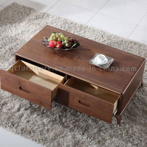 Wooden Drawer Coffee Table with Rose Gold Stainless Steel Legs pictures & photos