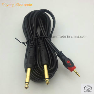 RCA/AV/TV/Audio Cable, 3.5mm/3.5 Stereo Plug to 2 6.35mm/6.35 6.5mm/6.5 Mono Plugs pictures & photos