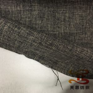 100% Polyester Faux Linen Fabric Bond with Cotton Backside for Sofa pictures & photos